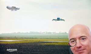 Image of drone flying and Jeff Bzons looking at his cool new creation